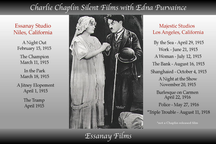 edna purviance films like the tramp - the bank work - jitney elopement - burlesques on carmen are a few of the essanay silent films with charlie chaplin.