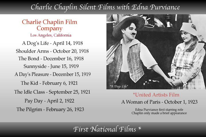 edna purviance and charlie chaplin's films at first national studios silent films
