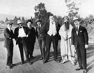 Charlie Chaplin, Sydney Chaplin and crew at studio site 1917